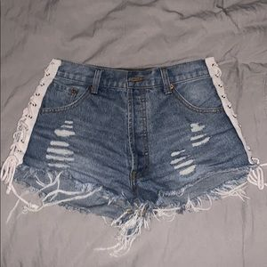 Pants - Tie detailed jean shorts